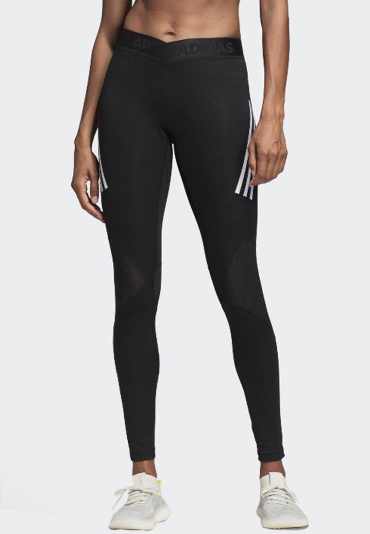 adidas Performance - ALPHASKIN SPORT 3-STRIPES LONG LEGGINGS - Legging - black