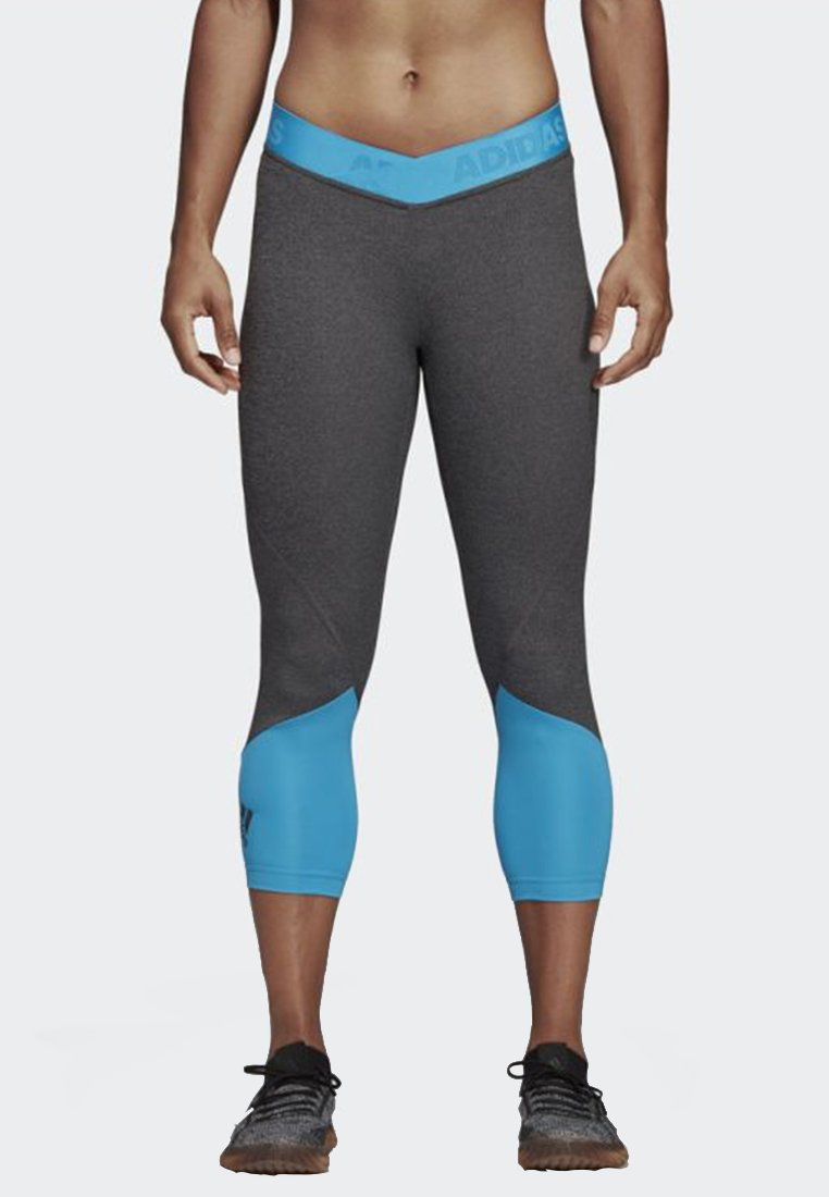 adidas Performance - ALPHASKIN SPORT 2.0 GRAPHIC 3/4 LEGGINGS - Tights - mottled anthracite/blue