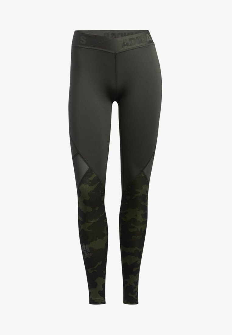 adidas Performance - ALPHASKIN CAMOUFLAGE LEGGINGS - Leggings - green
