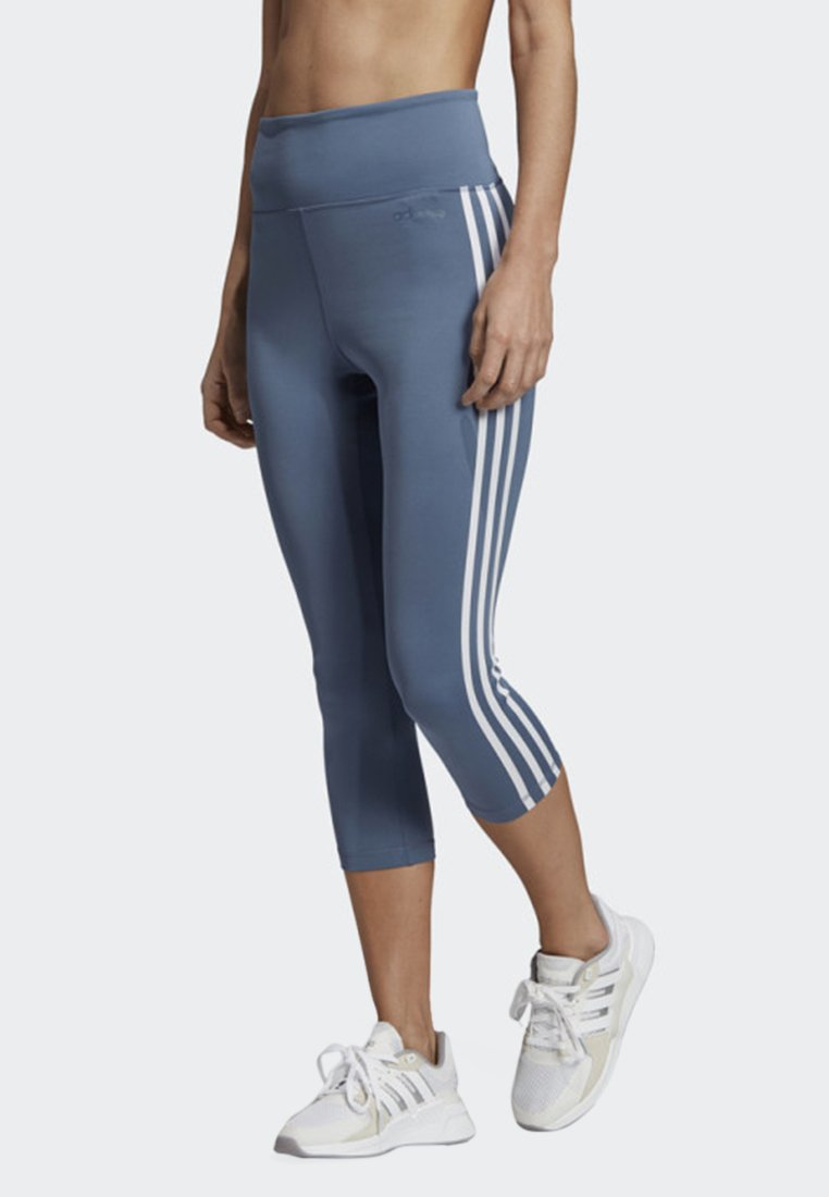 adidas Performance DESIGN 2 MOVE 3-STRIPES 3/4 LEGGINGS - Tights blue
