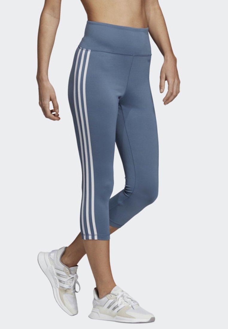 adidas Performance - DESIGN 2 MOVE 3-STRIPES 3/4 LEGGINGS - Tights - blue