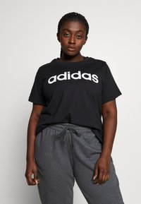 adidas Performance - T-shirt print - black/white - 0