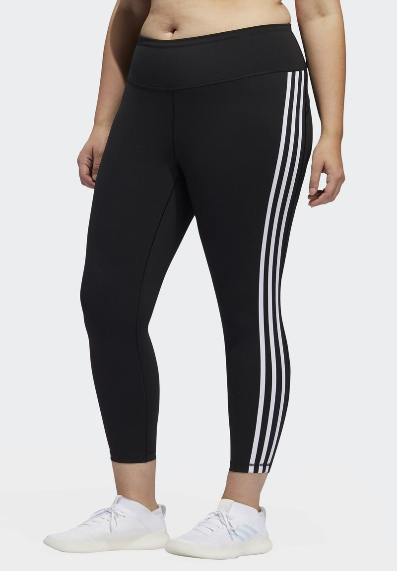 adidas Performance - BELIEVE THIS 3-STRIPES 7/8 LEGGINGS - Tights - black/white