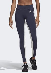 adidas Performance - KEY POCKET LEGGINGS - Leggings - blue/white - 0