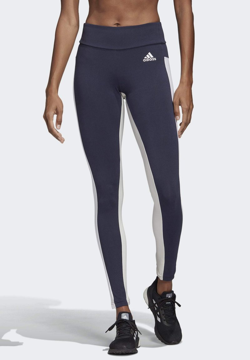 adidas Performance - KEY POCKET LEGGINGS - Leggings - blue/white