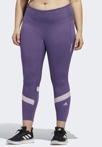 adidas Performance - HOW WE DO 7/8 LEGGINGS  (PLUS SIZE) - Leggings - purple - 0