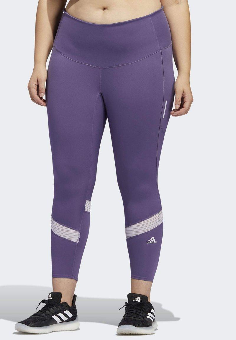 adidas Performance - HOW WE DO 7/8 LEGGINGS  (PLUS SIZE) - Leggings - purple