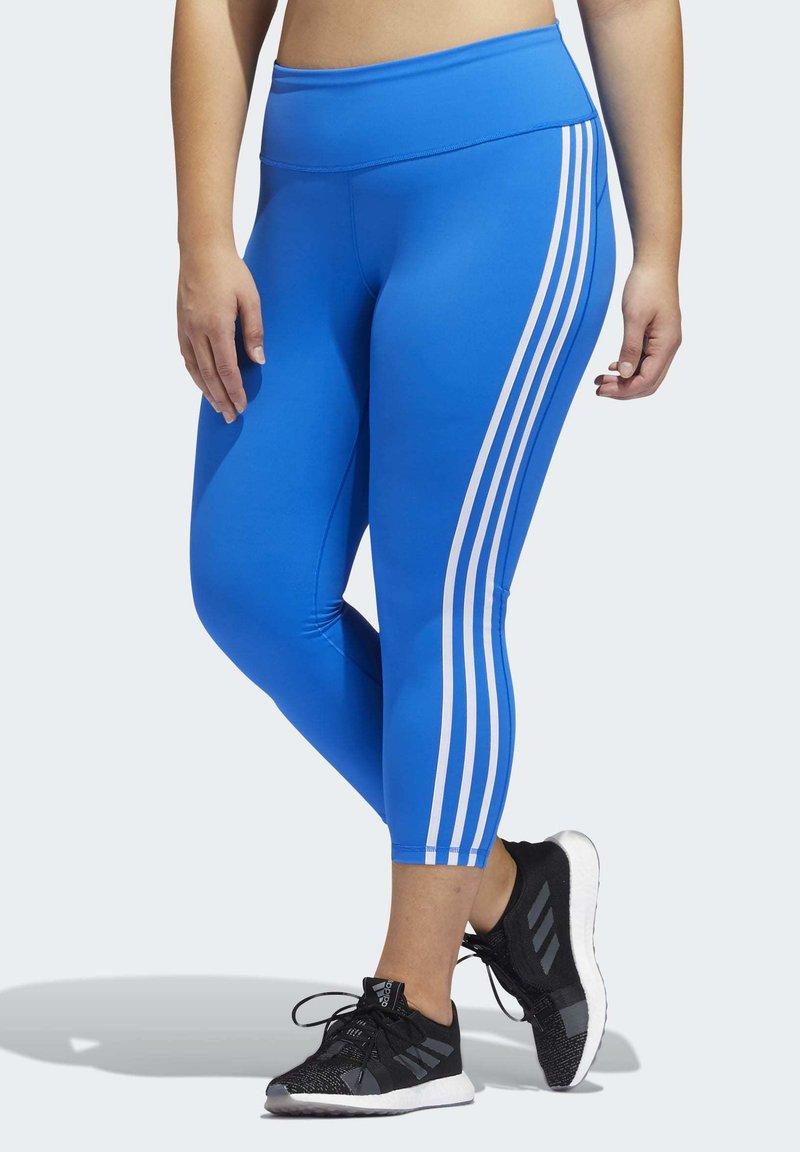 adidas Performance - BELIEVE THIS 3-STRIPES 7/8 LEGGINGS (PLUS SIZE) - Legging - blue
