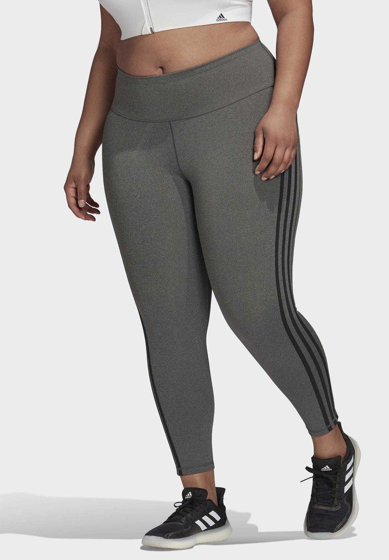 adidas Performance - BELIEVE THIS 3-STRIPES 7/8 LEGGINGS (PLUS SIZE) - Legging - grey