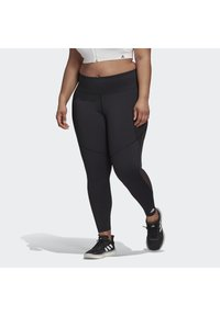 adidas Performance - BELIEVE THIS 3-STRIPES MESH LONG LEGGINGS (PLUS SIZE) - Legging - black - 0