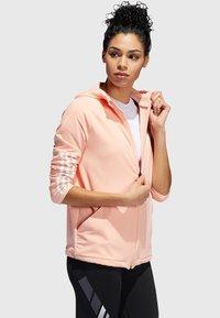 "adidas Performance - ADIDAS PERFORMANCE DAMEN SWEATJACKE ""3S FULL ZIP KNIT HOODIE"" - Trainingsvest - light pink - 2"