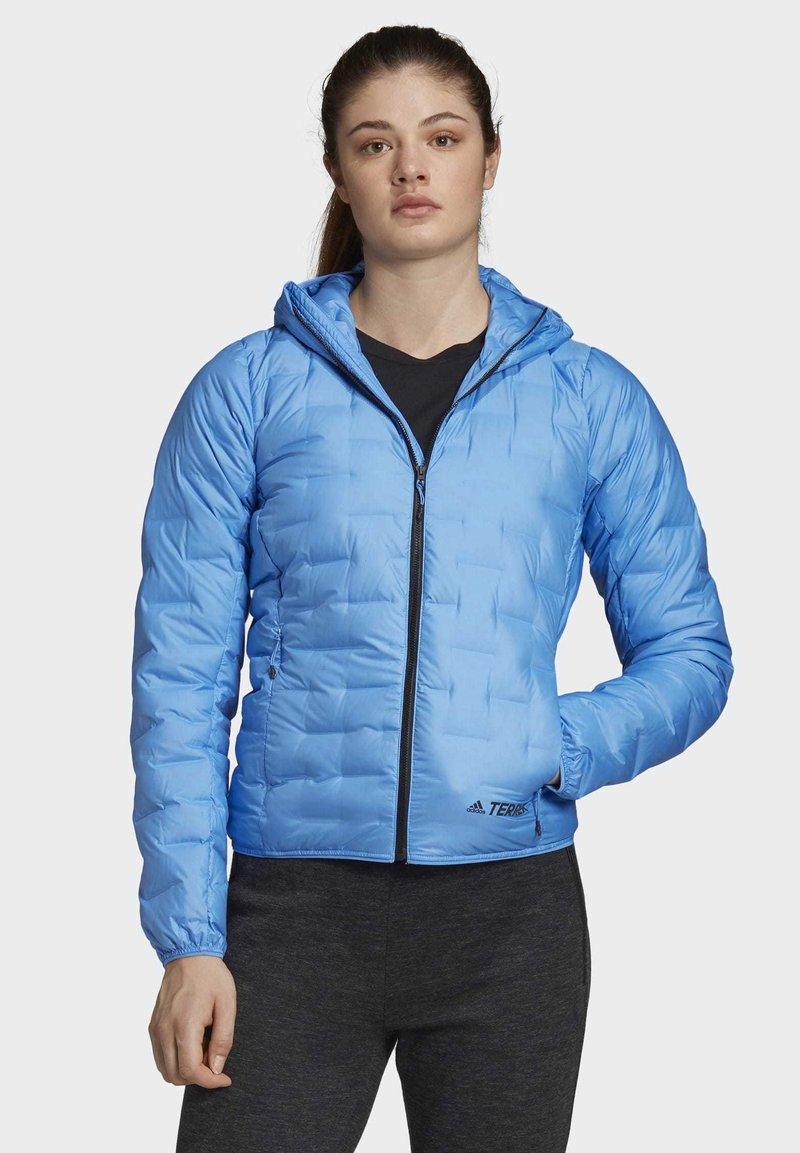 adidas Performance - LIGHT DOWN HOODED JACKET - Down jacket - blue