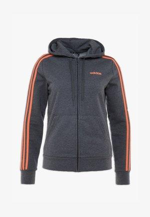 Mikina na zip - dark grey heather/semi coral