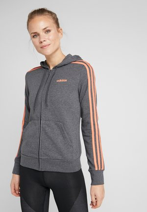 Mikina na zip - dark grey heather/semi coral