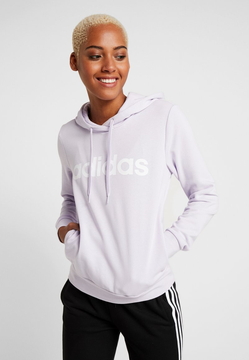adidas Performance - ESSENTIALS LINEAR SPORT HODDIE SWEAT - Sweat à capuche - purple tint/white
