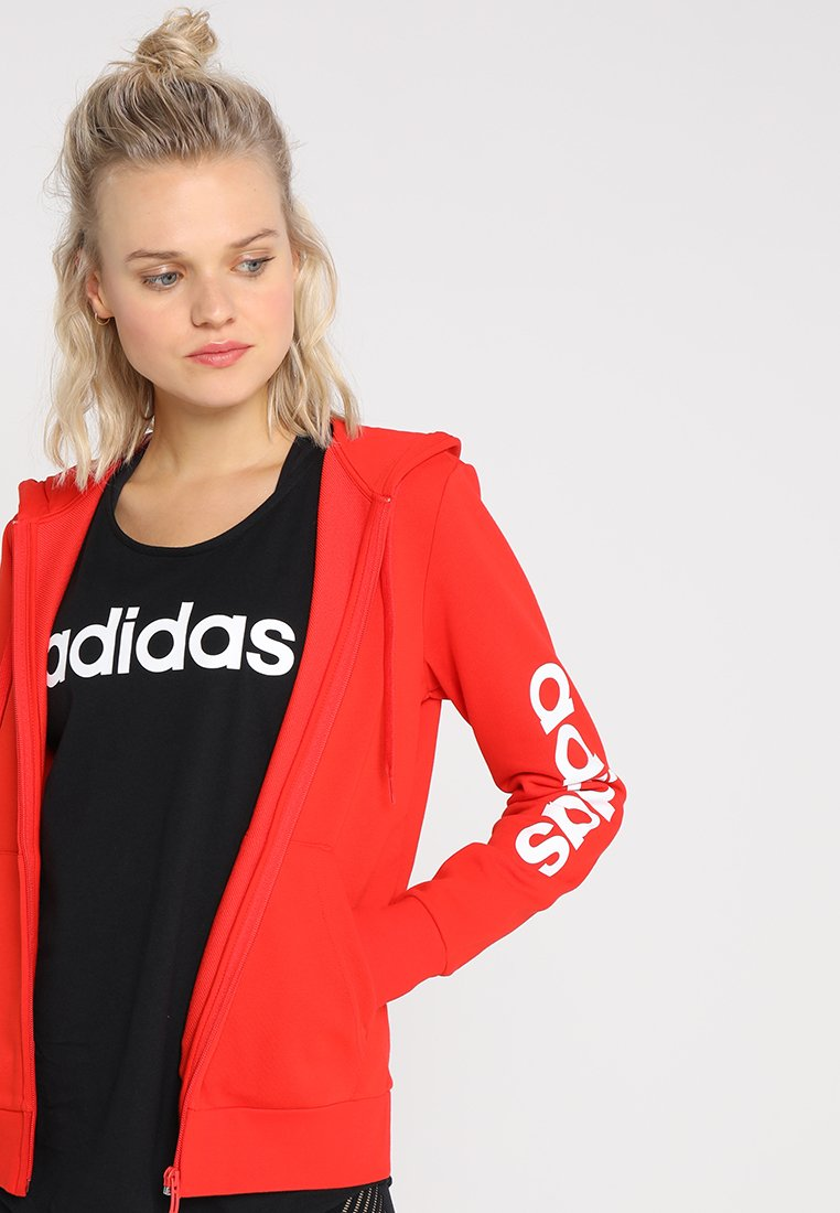 adidas Performance - Hoodie met rits - action red/white