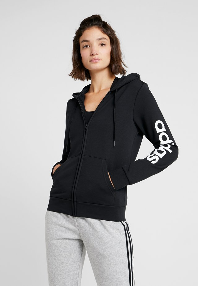 ESSENTIALS SPORT FULL ZIP HODDIE PULLOVER - Zip-up hoodie - black/white