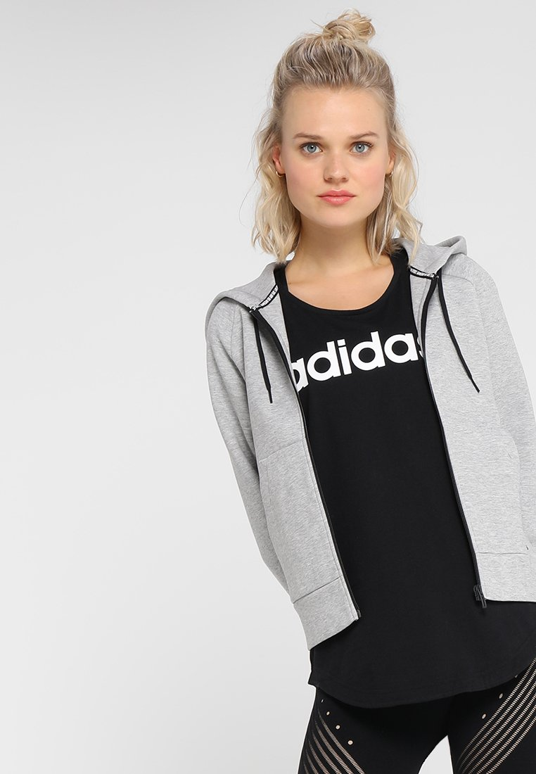 adidas Performance - HOODIE - Sweatjacke - medium grey heather