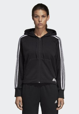MUST HAVES 3-STRIPES FRENCH TERRY HOODIE - Mikina na zip - black