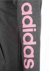 adidas Performance - ESSENTIALS LINEAR HOODIE - Sweatjakke /Træningstrøjer - dark grey heather/true pink - 3