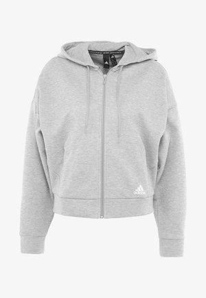 3STRIPES ATHLETICS HODDIE PULLOVER - Zip-up hoodie - medium grey heather/white