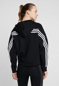 adidas Performance - 3STRIPES ATHLETICS HODDIE PULLOVER - Zip-up hoodie - black/white - 2