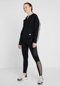 adidas Performance - 3STRIPES ATHLETICS HODDIE PULLOVER - Zip-up hoodie - black/white - 1