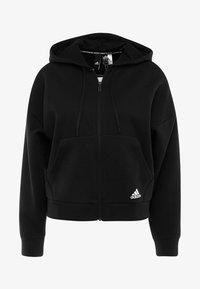 adidas Performance - 3STRIPES ATHLETICS HODDIE PULLOVER - Zip-up hoodie - black/white - 4