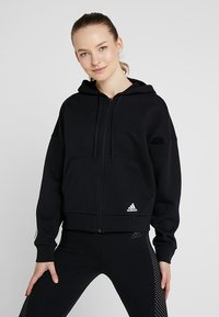 adidas Performance - 3STRIPES ATHLETICS HODDIE PULLOVER - Zip-up hoodie - black/white - 0