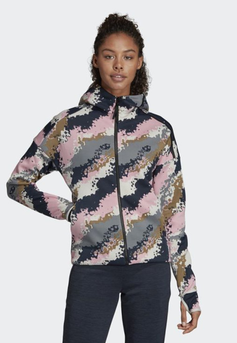 adidas Performance - ADIDAS Z.N.E. FAST-RELEASE ALLOVER PRINT HOODIE - Zip-up hoodie - white/pink/grey