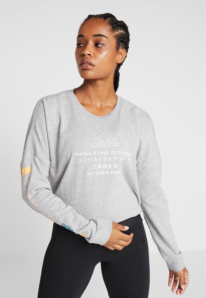 adidas Performance - GLOBAL CREW - Sweatshirt - medium grey heather