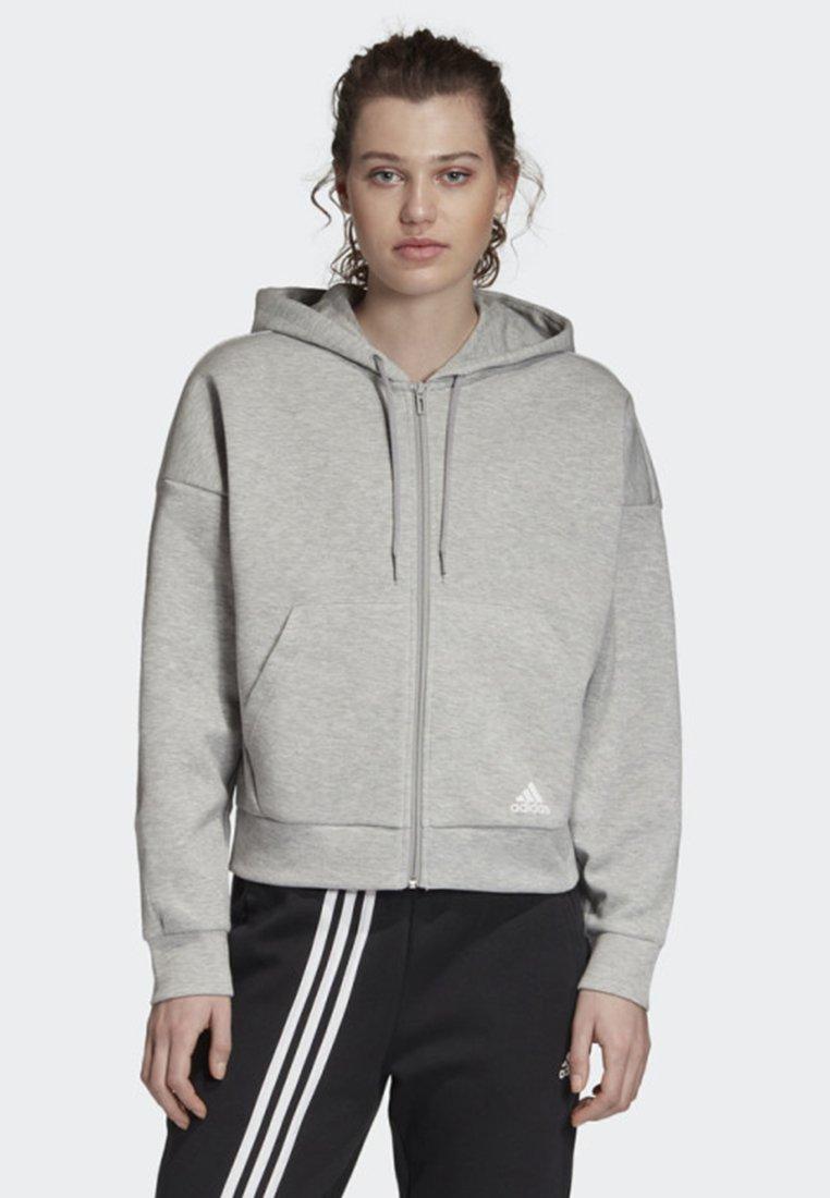 adidas Performance - MUST HAVES 3-STRIPES HOODIE - Hettejakke - grey