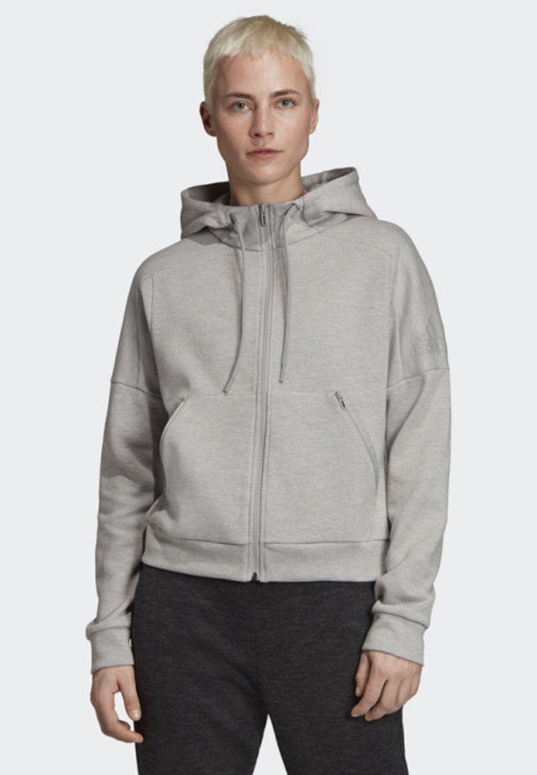 adidas Performance - ID MÉLANGE HOODIE - Sudadera con cremallera - grey