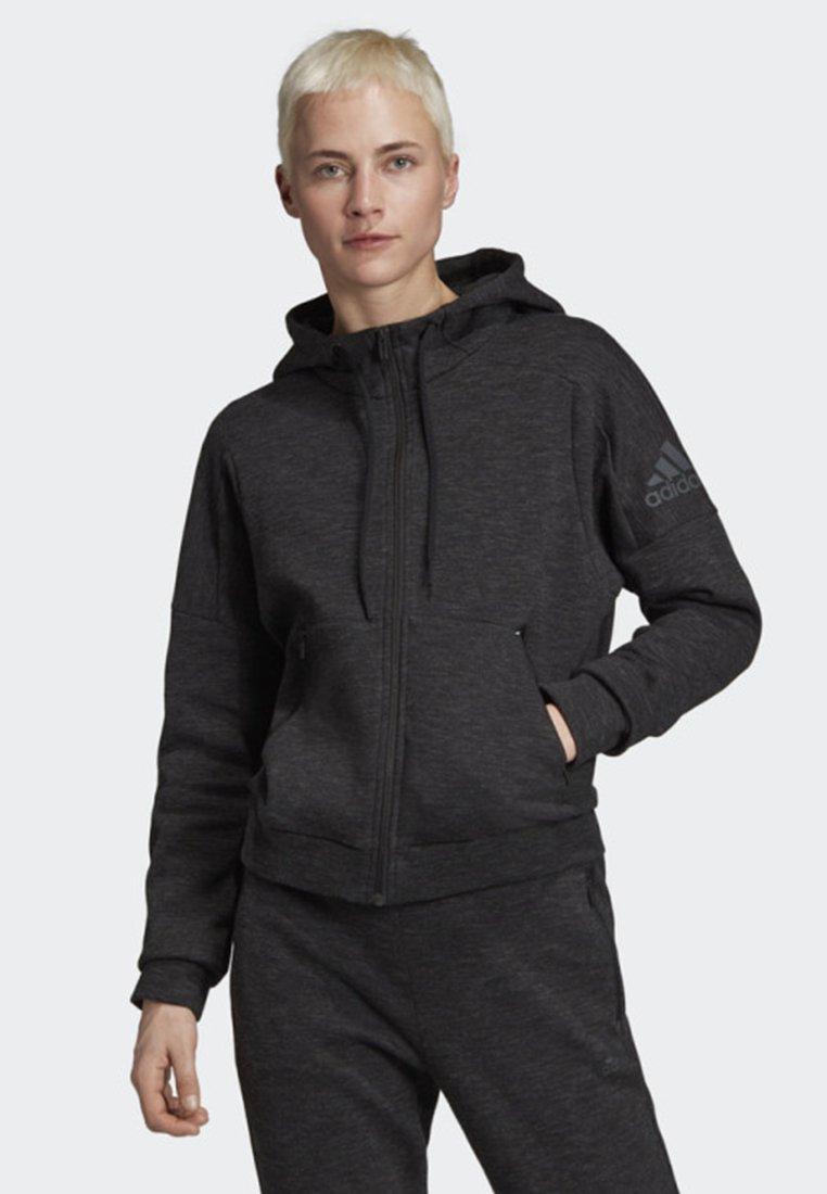 adidas Performance - ID MÉLANGE HOODIE - Sweatjacke - black