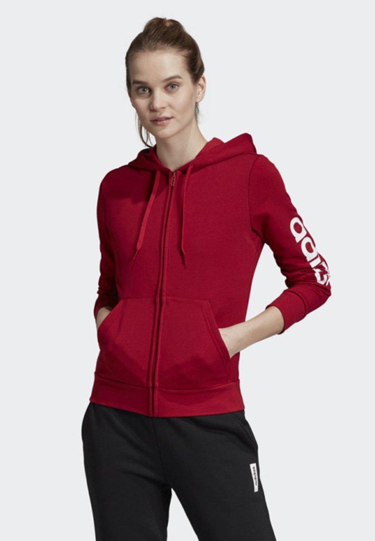 adidas Performance - ESSENTIALS LINEAR HOODIE - Zip-up hoodie - red