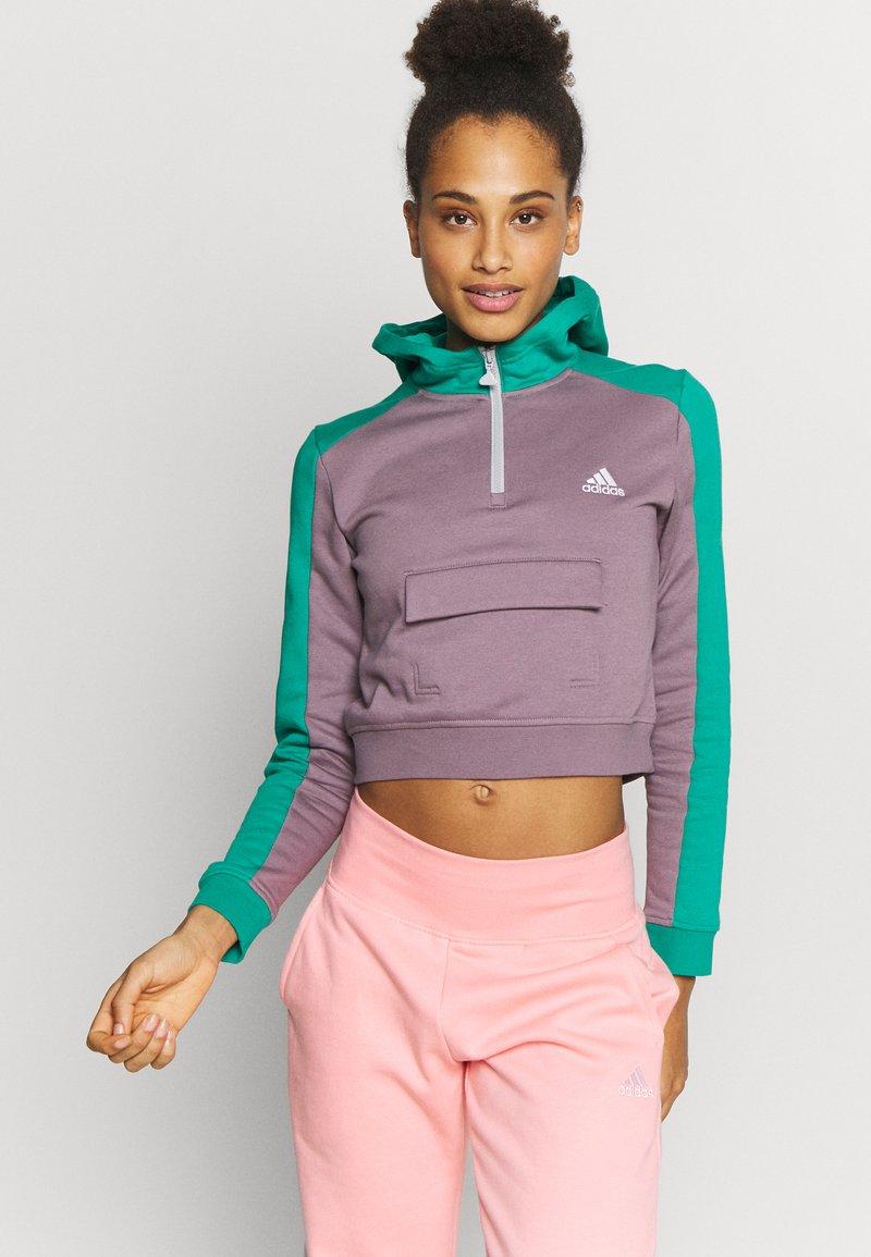 adidas Performance - HOODIE - Hoodie - purple/green
