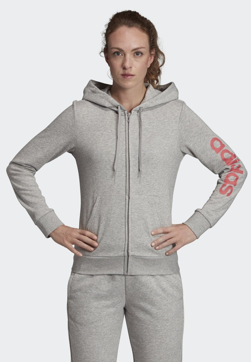 adidas Performance - ESSENTIALS LINEAR HOODIE - Hoodie met rits - grey