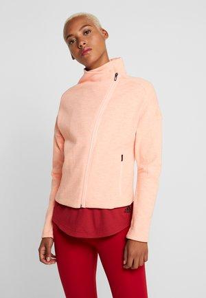 Huvtröja med dragkedja - glow pink/raw white