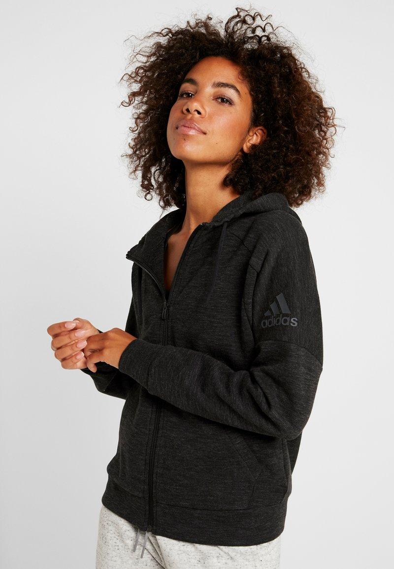 adidas Performance - Zip-up hoodie - black/grey six