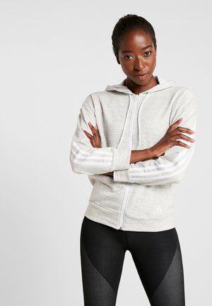 Zip-up hoodie - solid grey/off white/white