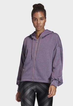 GATHERED HOODIE - veste en sweat zippée - purple