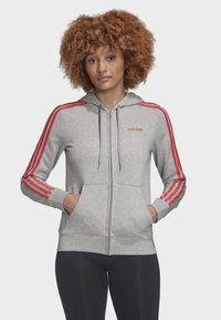 adidas Performance - ESSENTIALS 3-STRIPES HOODIE - Zip-up hoodie - grey - 0