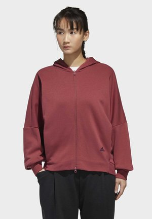 3-STRIPES WORDING FULL-ZIP HOODIE - Hettejakke - red