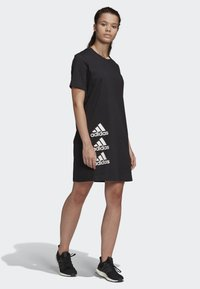 adidas Performance - MUST HAVES STACKED LOGO DRESS - Jersey dress - black - 1