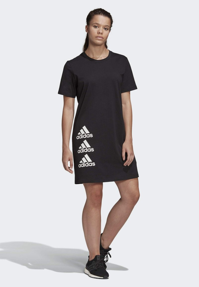 adidas Performance - MUST HAVES STACKED LOGO DRESS - Jersey dress - black