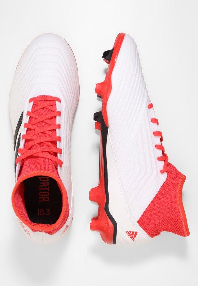 PREDATOR 18.3 FG - Moulded stud football boots - white/black/reacor