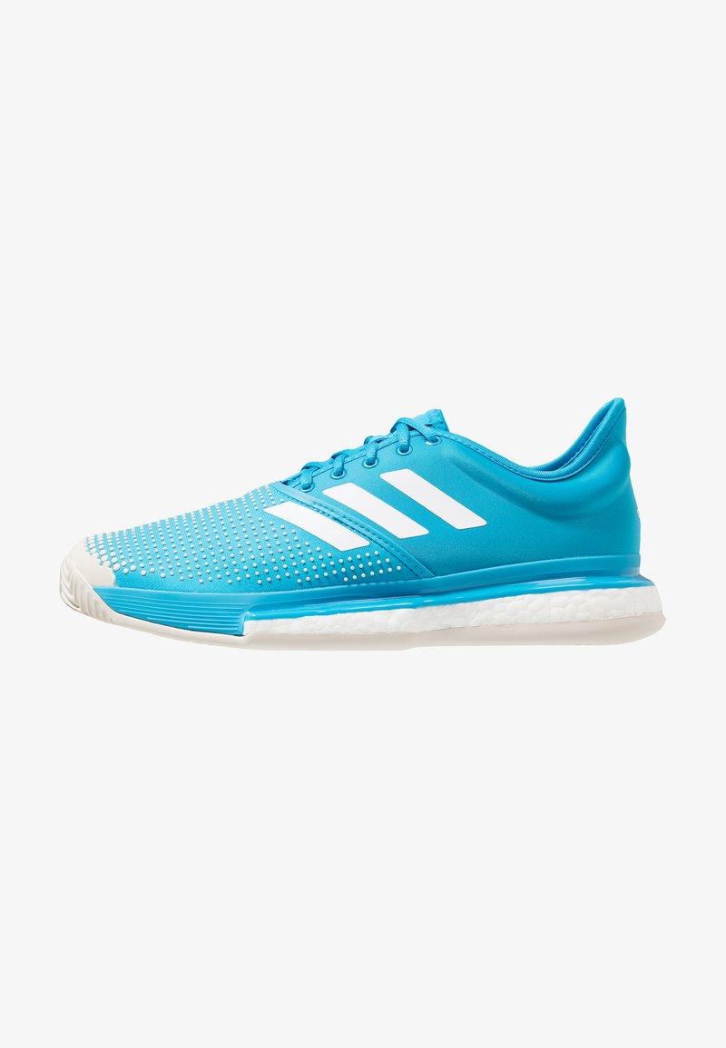 adidas Performance - SOLECOURT BOOST CLAY - Tennissko til grusbane - shock cyan/footwear white/raw white
