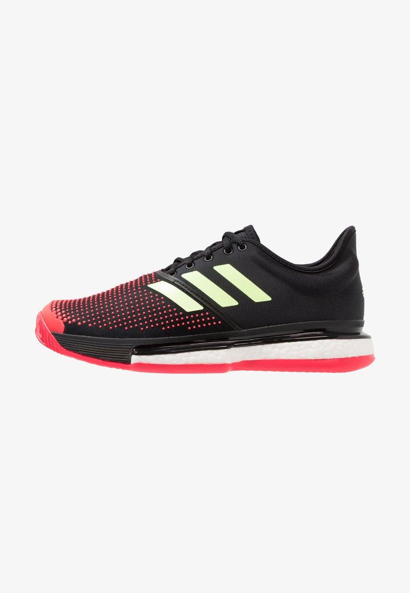 adidas Performance - SOLECOURT BOOST CLAY - Tennisskor för grus - core black/hi-res yellow/shock red