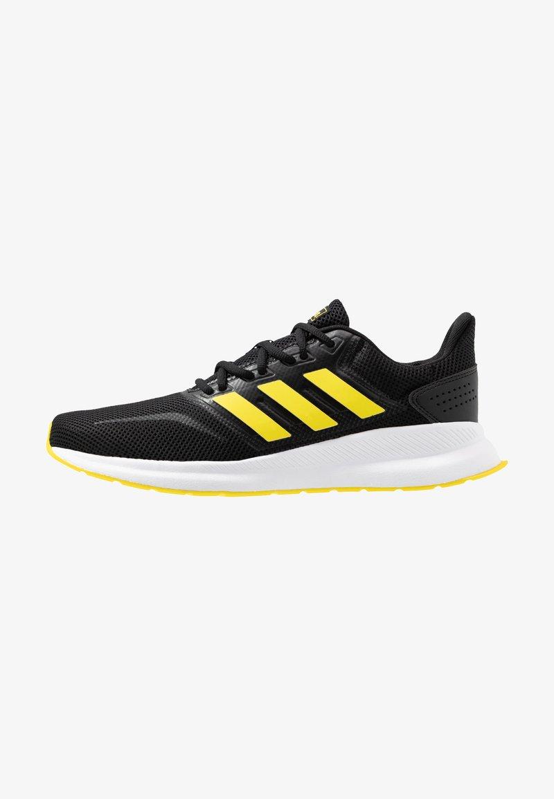 adidas Performance - RUNFALCON - Hardloopschoenen neutraal - core black/shock yellow/footwear white