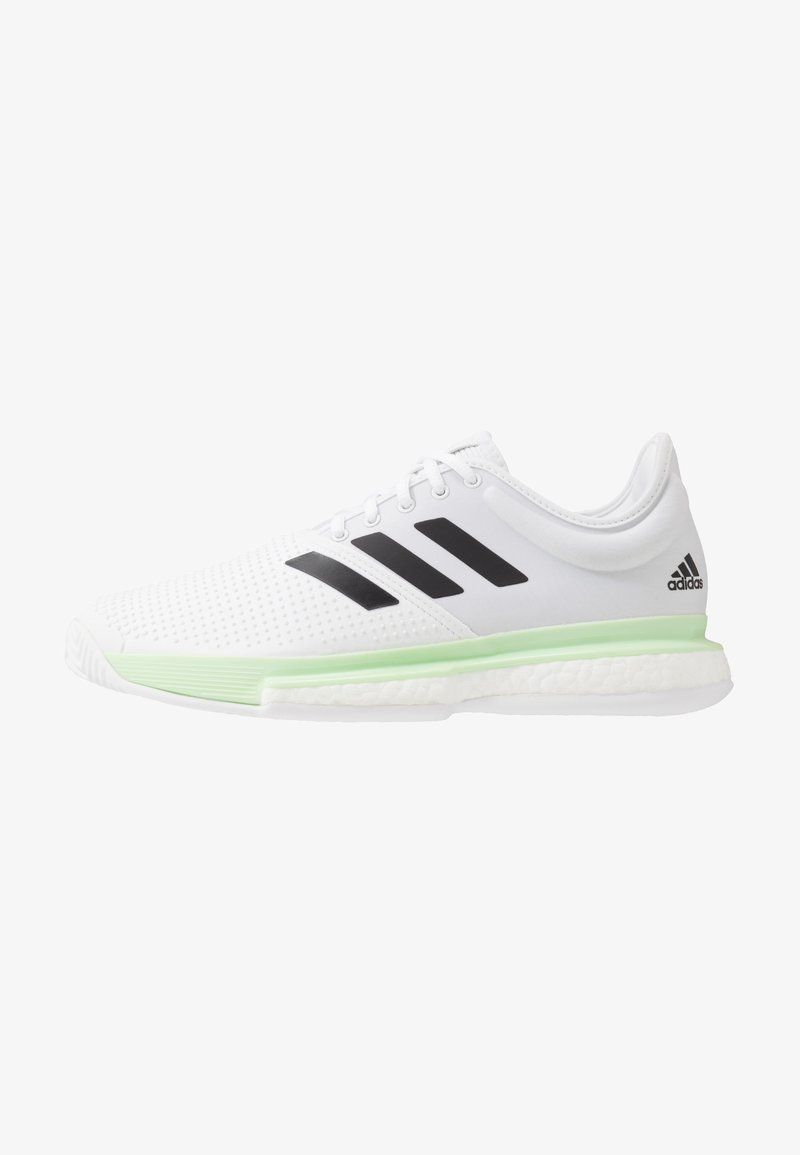 adidas Performance - SOLECOURT BOOST - Clay court tennis shoes - footwear white/core black/glow green